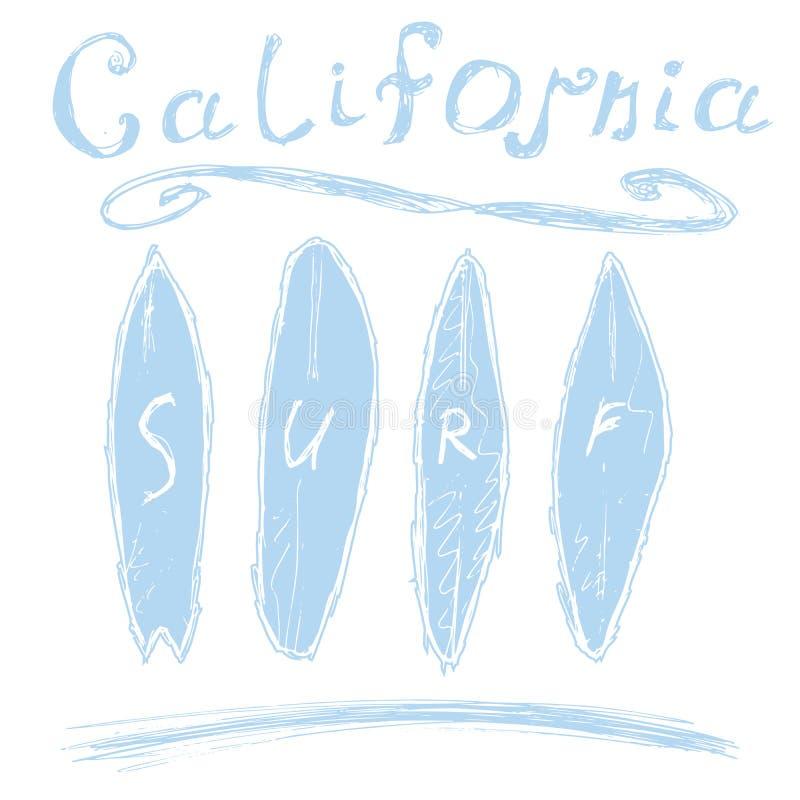 Kalifornien bränningtypografi, diagram för t-skjorta printingdesign, vektoraffisch, emblemAppliqueetikett stock illustrationer