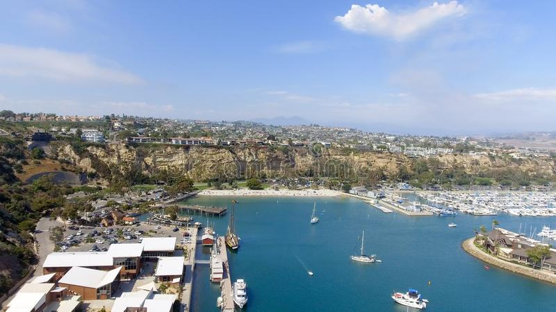 Kalifornien Dana Point Panorama- flyg- sikt arkivfoton