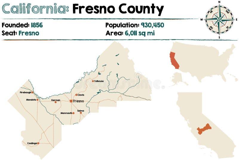 Kalifornien - Fresno County översikt stock illustrationer