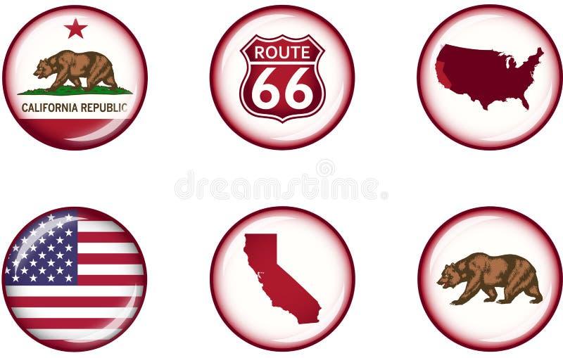 Kalifornien glansig symbolsuppsättning royaltyfria foton