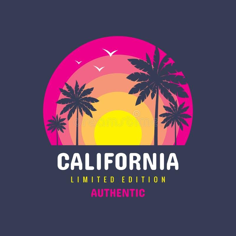 Kalifornien - illustration för begreppsemblemvektor för t-skjorta och andra designtryckproduktioner Sommar solnedgång, gömma i ha royaltyfri illustrationer