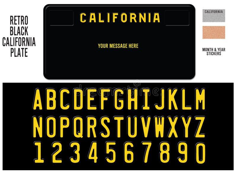 Kalifornien-Kfz-Kennzeichen-Schwarz-Retro- Design stock abbildung