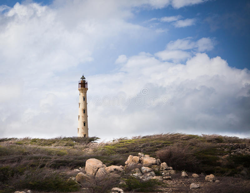 Kalifornien-Leuchtturm in Aruba stockfotografie