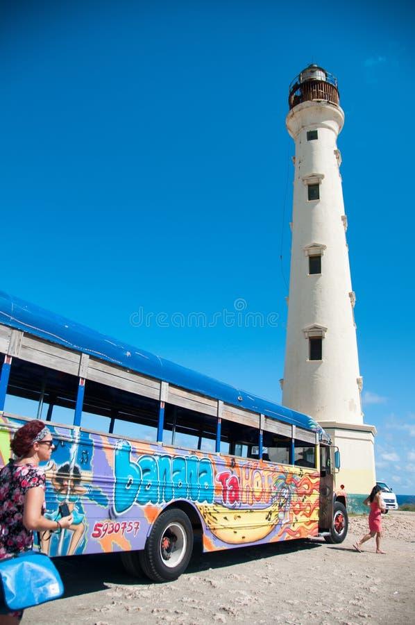 Kalifornien-Leuchtturm-Markstein auf Aruba Karibisches Meer lizenzfreies stockbild