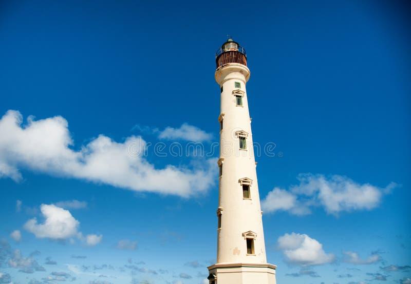 Kalifornien-Leuchtturm-Markstein auf Aruba Karibisches Meer lizenzfreie stockfotos