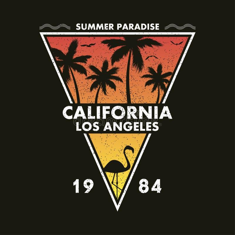 Kalifornien Los Angeles - grungetypografi för designkläder, t-skjorta med flamingo och palmträd Form av en triangel stock illustrationer