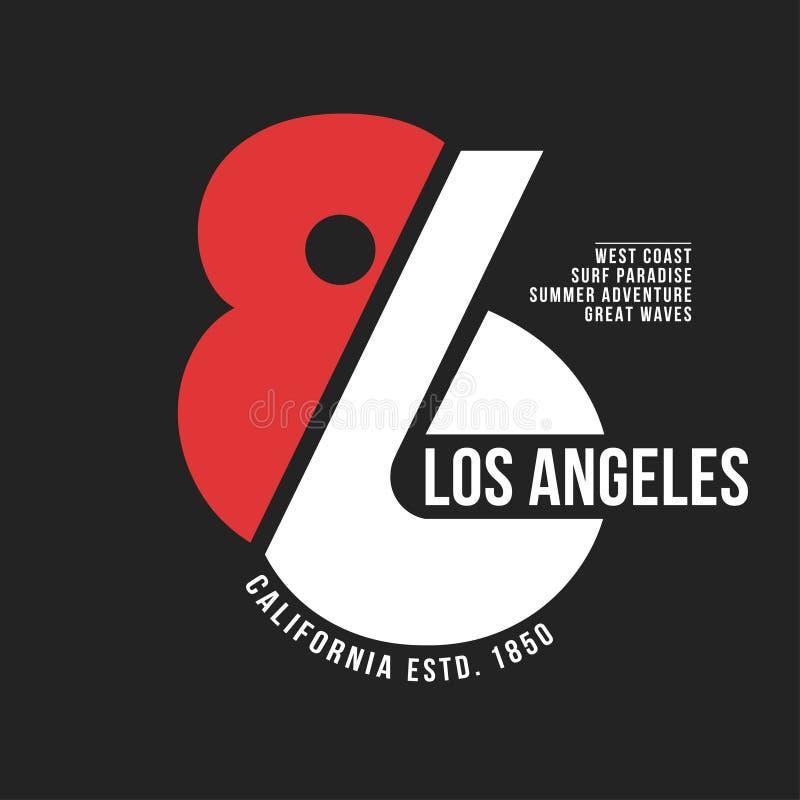 Kalifornien Los Angeles typografi för t-skjorta tryck Sportar idrotts- t-skjorta diagram royaltyfri illustrationer