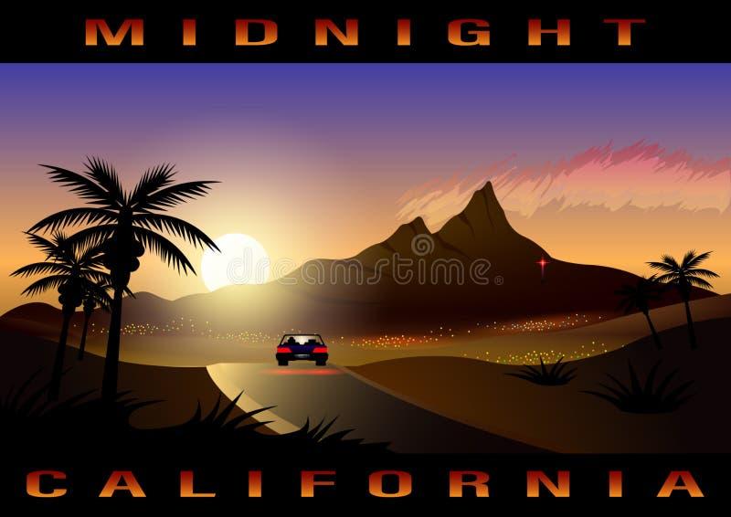 Kalifornien midnatt stad, tropiskt landskap stock illustrationer