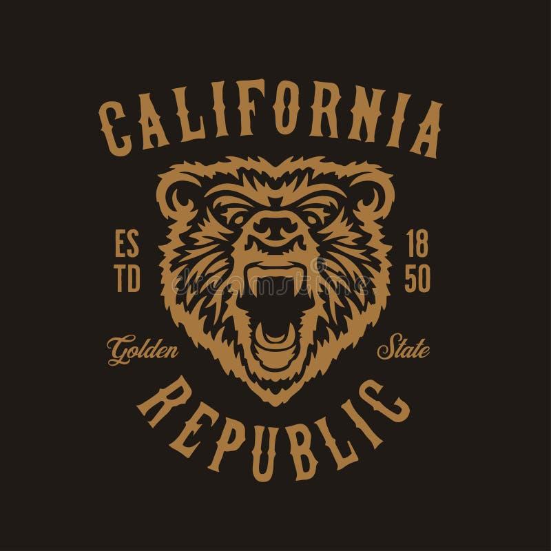 Kalifornien-Republikt-shirt Design mit Grizzlybärkopf Vektorweinleseillustration vektor abbildung
