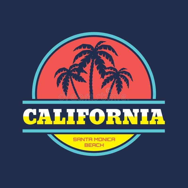 Kalifornien - Santa Monica strand - vektorillustrationbegrepp i grafisk stil för tappning för t-skjorta och annan tryckproduktion vektor illustrationer