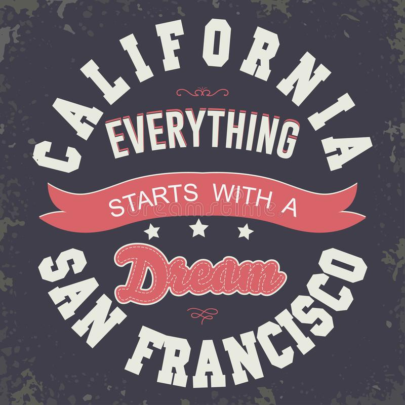 Kalifornien-Sport T-Shirt Typografiedesign vektor abbildung