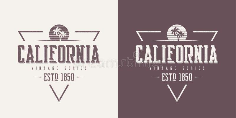 Kalifornien-Staat maserte Weinlesevektort-shirt und -kleiderdes vektor abbildung