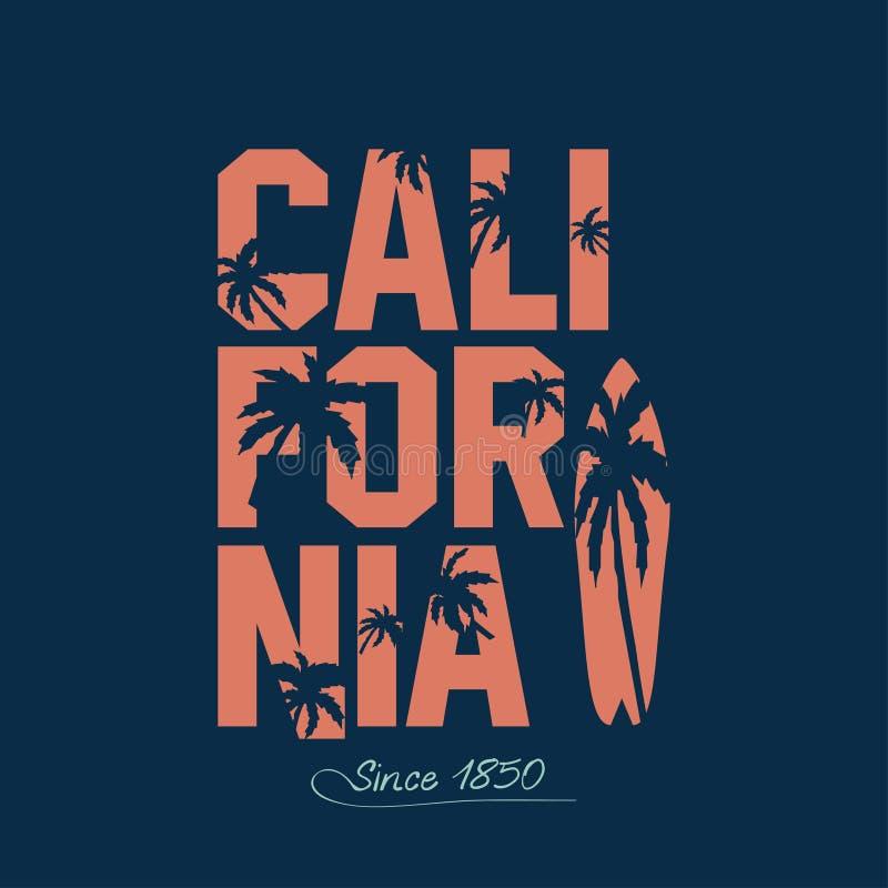 Kalifornien-Strand Typografie-Grafiken lizenzfreie abbildung