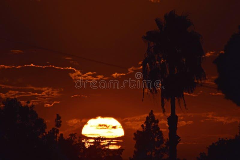 Kalifornien sydlig solnedgång royaltyfria foton
