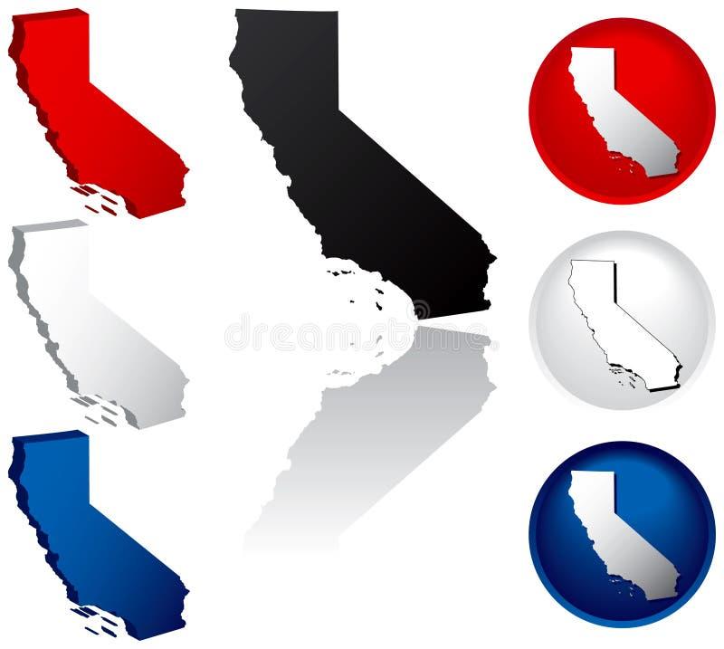 Kalifornien symbolstillstånd vektor illustrationer