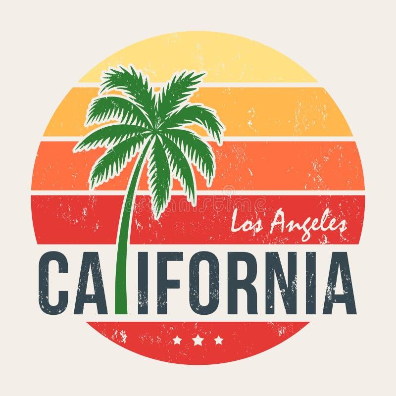 Kalifornien-T-Stück Druck mit angeredeter Palme vektor abbildung