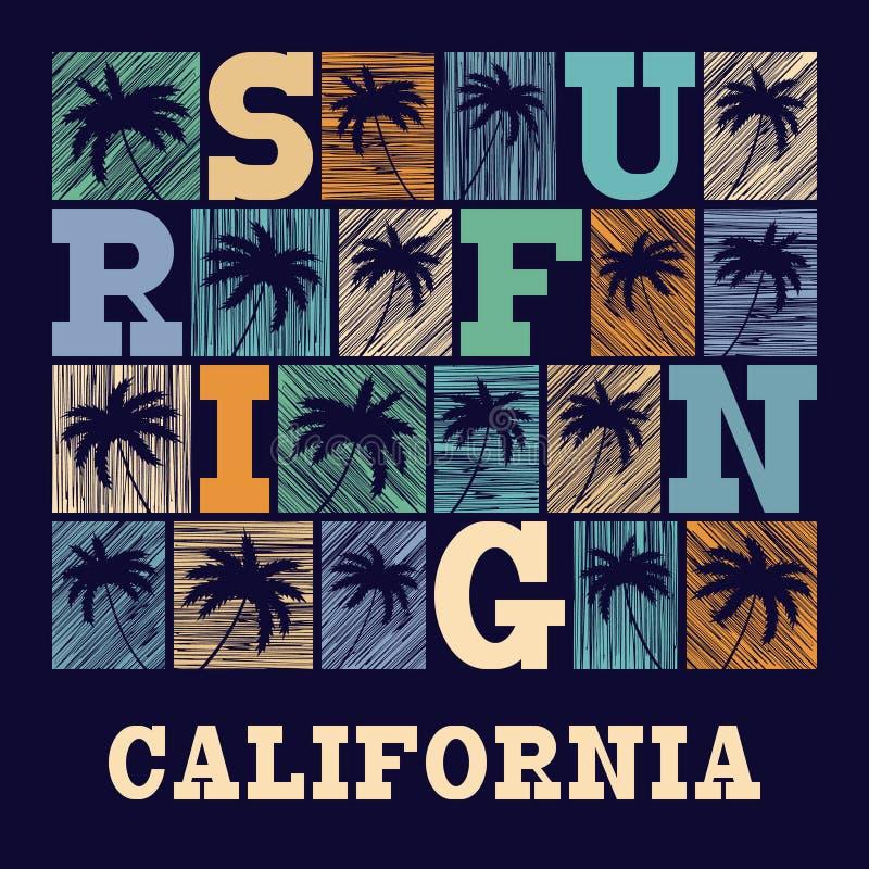 Kalifornien-Typografie-Grafiken T-Shirt Mode Design stock abbildung