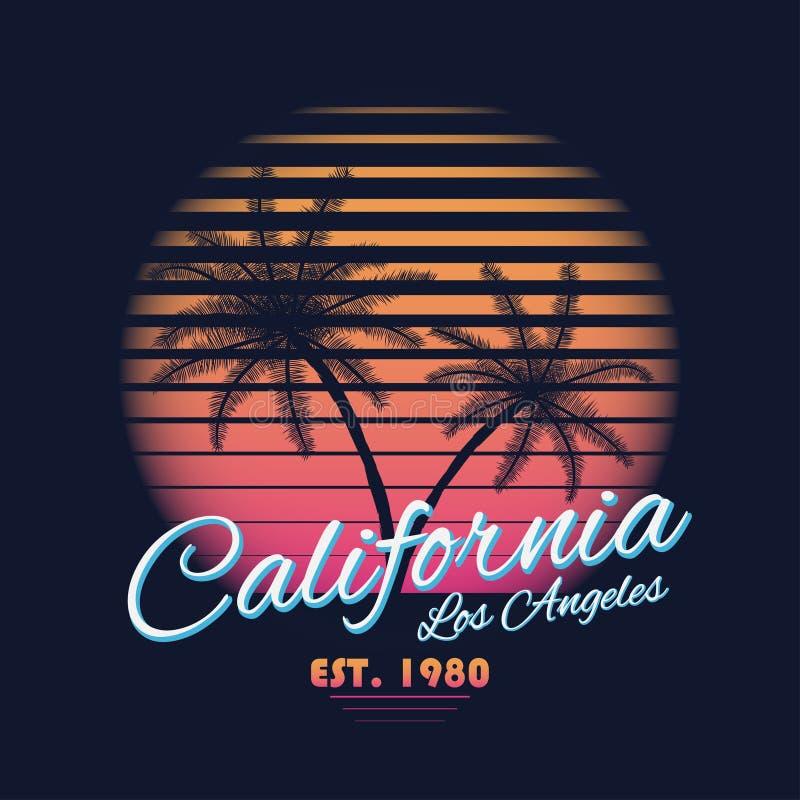 Kalifornien-Typografie Weinlese der Art 80s Retro- T-Shirt Grafiken mit tropischen Paradiesszenen- und -tropenpalmen vektor abbildung