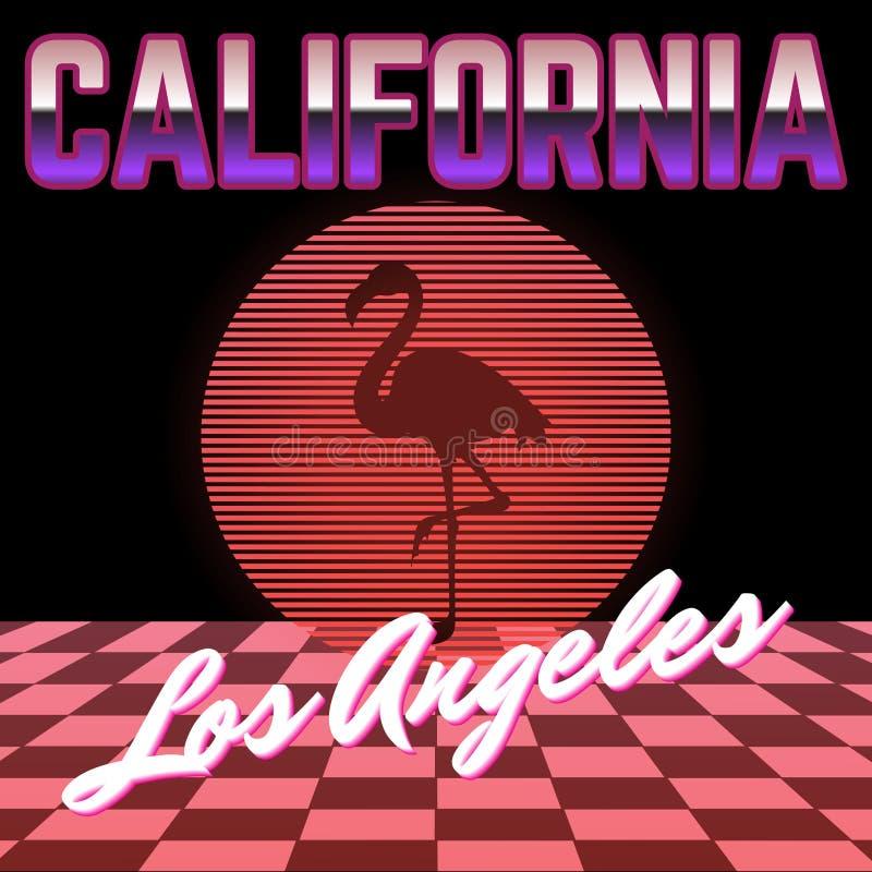 Kalifornien Vektoraffischen med konturn av flamingo och cirkeln som göras i vaporwave, utformar stock illustrationer