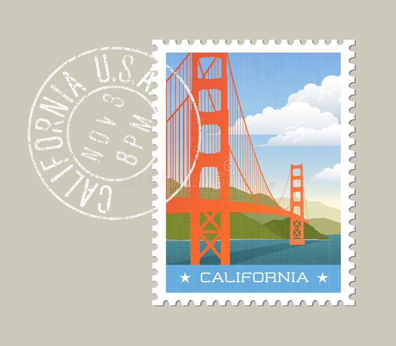 Kalifornien Vektorillustration av golden gate bridge vektor illustrationer