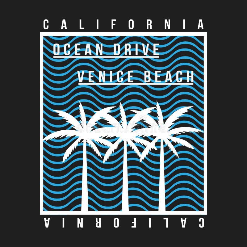 Kalifornien Venedig strandtypografi för t-skjorta Gömma i handflatan med havet och träbrädet T-tröjadiagrammet med vändkretsen gö royaltyfri illustrationer