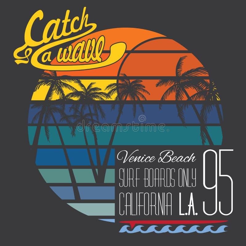 Kalifornien Venedig strandtypografi, t-skjorta printingdesign royaltyfri illustrationer