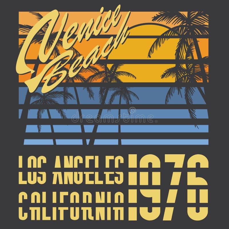 Kalifornien Venedig strandtypografi, t-skjorta printingdesign, etikett för Applique för sommarvektoremblem royaltyfri illustrationer