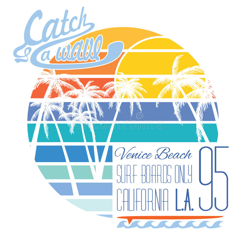 Kalifornien Venedig strandtypografi, t-skjorta printingdesign, etikett för Applique för sommarvektoremblem stock illustrationer