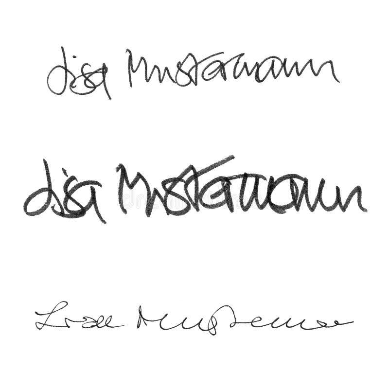 Kaligrafia podpis Lisa Mustermann, ręcznie pisany set różni style i pióra ilustracji