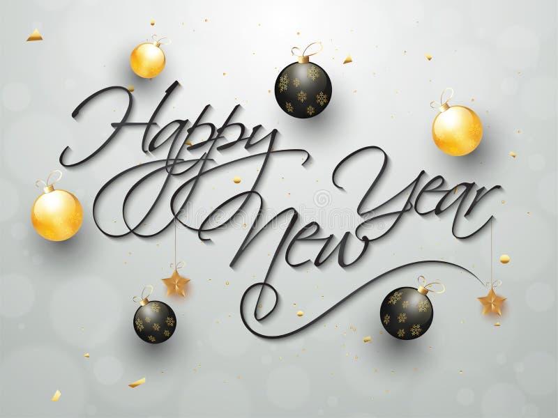 Kaligrafia teksta Szczęśliwy nowy rok na popielatym tle dekorował dowcip ilustracja wektor