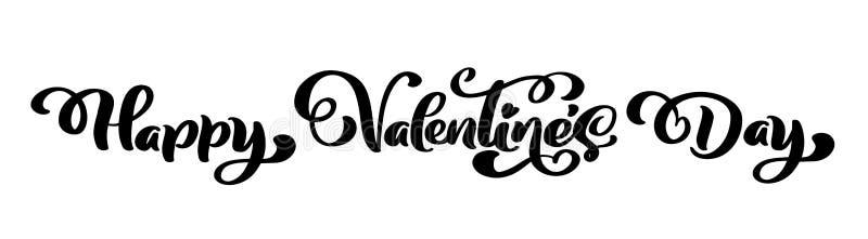 Kaligrafia zwrota walentynki s Szczęśliwy dzień Wektorowa ręka Rysujący walentynka dnia literowanie Odosobniony ilustracyjny serc ilustracja wektor