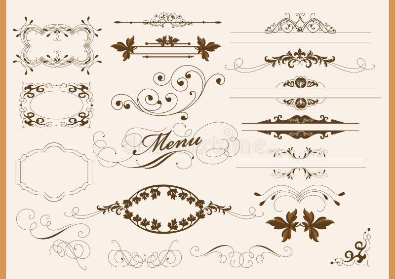 kaligraficzna dekoraci projekta elementów strona royalty ilustracja