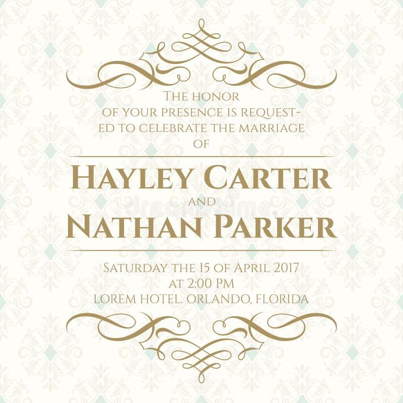 Kaligraficzna granica i bezszwowy klasyczny tło tła eleganci serc zaproszenia romantycznego symbolu ciepły ślub ilustracji
