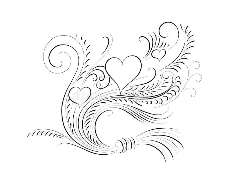 Kaligraficzna ilustracja z sercami obrazy stock