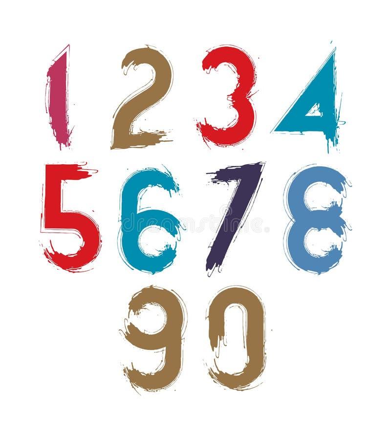 Kaligraficzne liczby rysować z atramentu muśnięciem, kolorowym royalty ilustracja