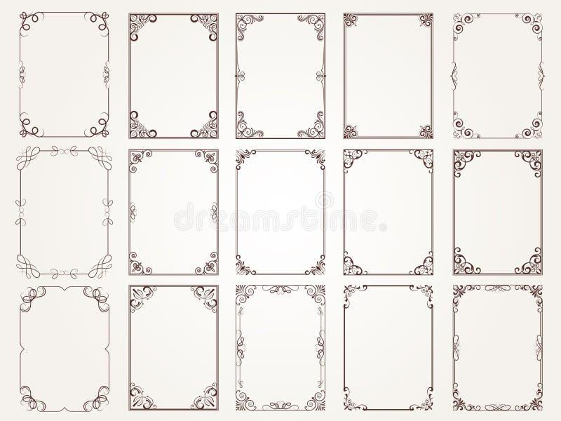 kaligraficzne ramy Granica kątów ozdobne ramy dla świadectwo kwiecistego klasycznego wektoru projektują kolekcję ilustracja wektor