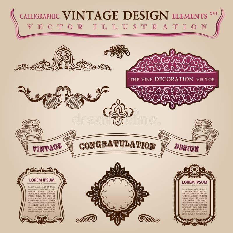 Kaligraficznego elementów rocznika Gratulacyjna strona ilustracja wektor