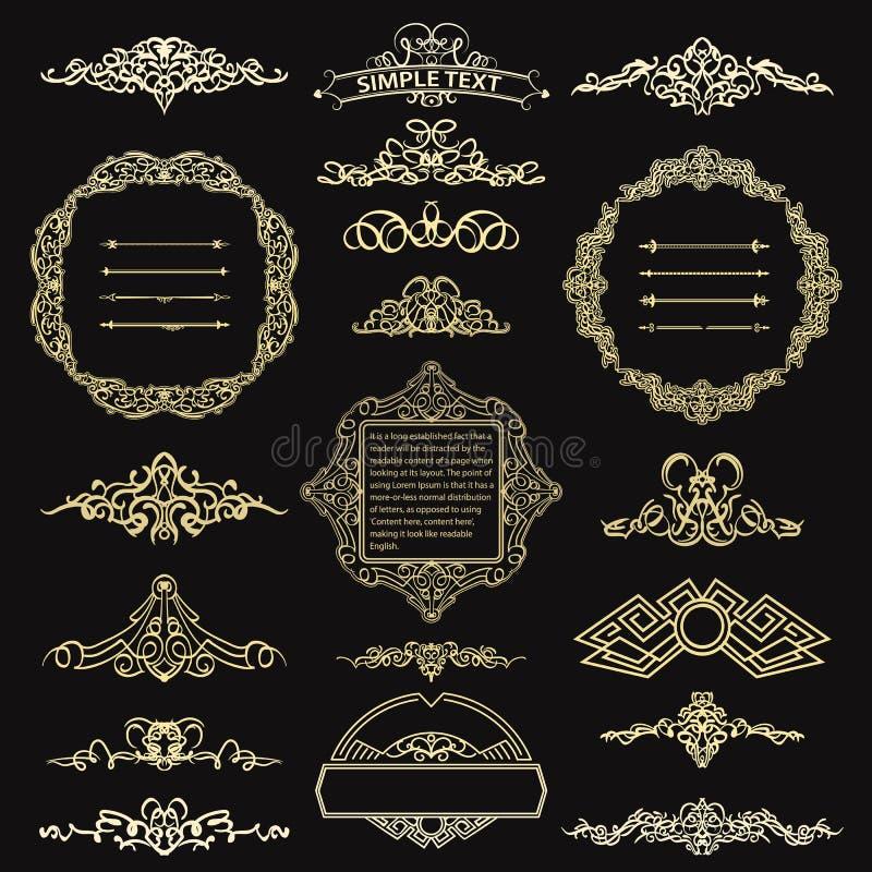 Kaligraficznego projekta retro elementy dla loga ilustracja wektor