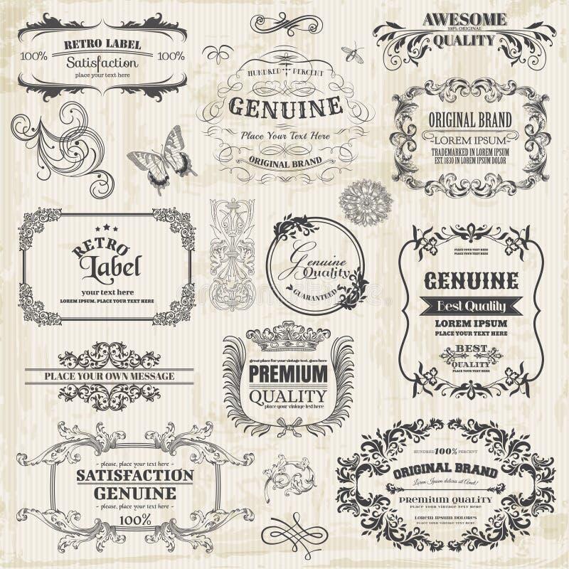 Kaligraficzni projektów elementy ilustracja wektor
