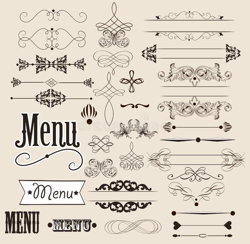 Kaligraficzni projektów elementy i stron dekoracje royalty ilustracja