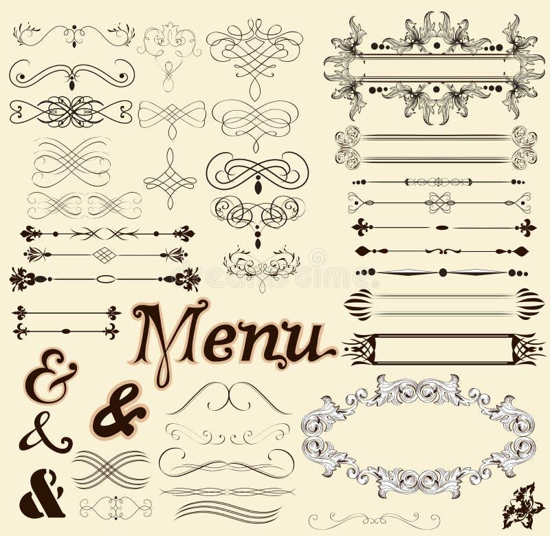 Kaligraficzni projektów elementy i stron dekoracje w retro stylu ilustracja wektor