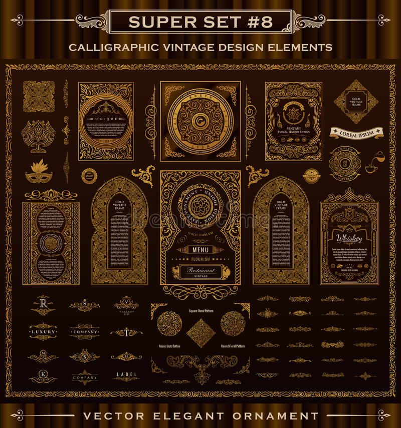 Kaligraficzni roczników elementy Wektorowy baroku set Projekt ikony ilustracji