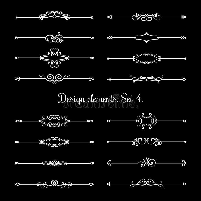 Kaligraficzni stron dividers Kwieciści ornamentacyjni projektów elementy, dekoracyjna kaligrafia ilustracji