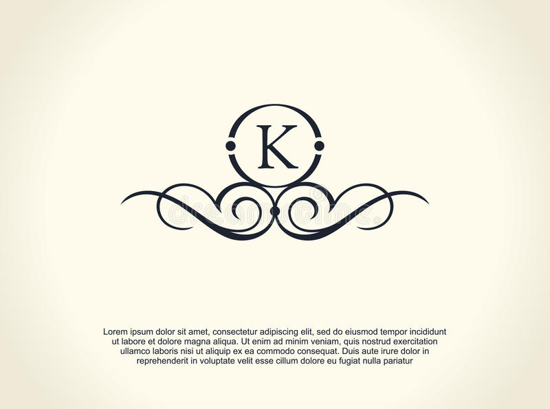 Kaligraficzny luksus linii logo Rozkwita eleganckiego emblemata monogram Królewski rocznika divider projekt ilustracji