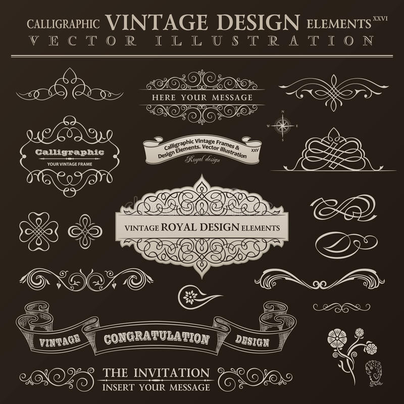 Kaligraficzny projektów elementów rocznika set Wektorowe ornament ramy ilustracja wektor