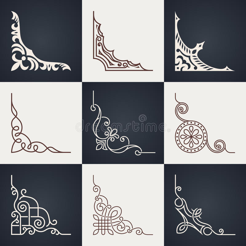 kaligraficzny projektów elementów wektora obrazu Roczników kąty Ustawiający ilustracja wektor