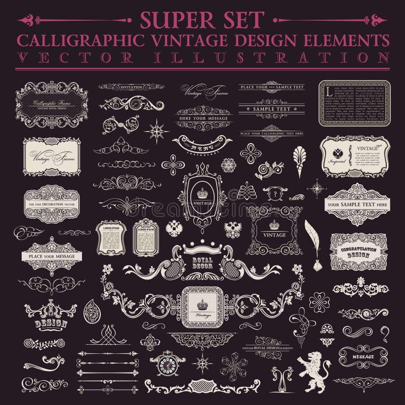 kaligraficzny projektów elementów wektora obrazu Wektorowy baroku set royalty ilustracja