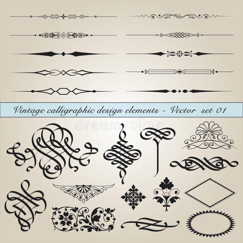 kaligraficzny projekta elementów rocznik ilustracji