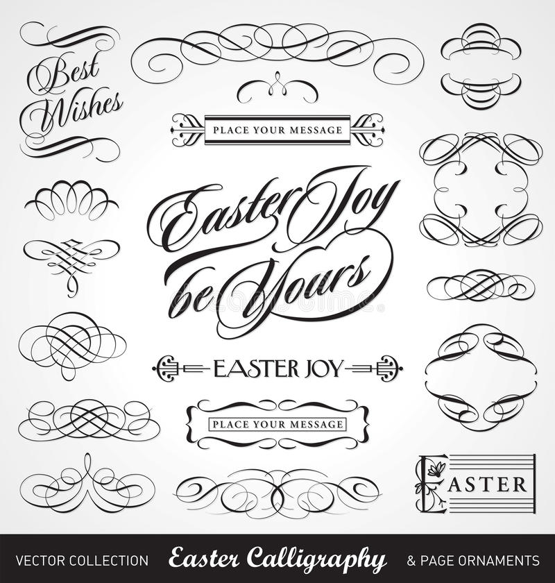kaligrafii Easter setu wektor royalty ilustracja