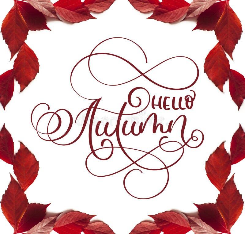 Kaligrafii literowania teksta jesień cześć rama z czerwienią opuszcza na białym tle fotografia royalty free
